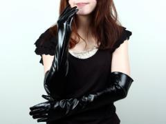 50±2cmエナメルブラック/合皮/皮革ロンググローブ 黒/コスプレ手袋【新品/送料込み】