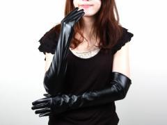 50±2cmブラック/合皮/皮革ロンググローブ マットブラック/コスプレ手袋【新品/送料込み】