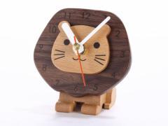 【carpenter】木製 可愛いライオン ウッド クロック 机上 時計 置き時計 インテリア雑貨 置物【新品/送料込み】