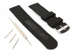 ナイロン製 腕時計 バンド ベルト 22mm ストラップ ブラック