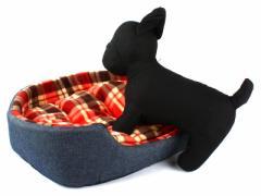 猫 小型犬 防寒用ふかふか ペットソファベッド デニム調 #チェック柄/レッド【新品/送料込み】