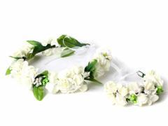 花嫁 花冠 フラワー ヘッドドレス+ブレスレットセット 結婚式#白い花