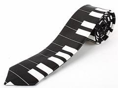 男女兼用 ファッション 細身のネクタイ/鍵盤柄B#ブラックx白 ※ネクタイ・スーツ小物