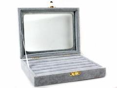高級感満載 起毛布製 アクセサリー リング 収納ケース 指輪 ピアス など/6列#灰色 ※アクセサリー収納