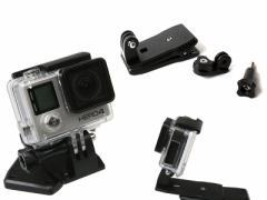 アウトドア Gopro スポーツカメラ 用 360度回転 クリップマウント#黒