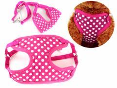 ペット 猫 犬 散歩最適 調整可能 リード付き ハーネスセット/Sサイズ/水玉柄 #ローズ