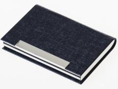 男女兼用 上質感模様 PUレザー+合金製 名刺入れ ケース カード収納整理 ビジネス用 #ブルー