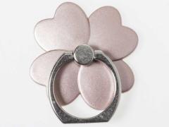 貼り付けタイプ iPhone スマホ 指輪タイプ ホールド リングスタンド クローバー#ローズゴールド 送料込