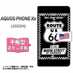 SoftBank AQUOS PHONE Xx 302SH 手帳型 スマホケース ステッチタイプ YK805 ルート66 メール便送料無料