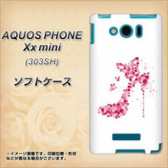 SoftBank AQUOS PHONE Xx mini 303SH TPU ソフトケース / やわらかカバー【387 薔薇のハイヒール 素材ホワイト】 UV印刷 (アクオスフォ
