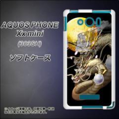 SoftBank AQUOS PHONE Xx mini 303SH TPU ソフトケース / やわらかカバー【1003 月と龍 素材ホワイト】 UV印刷 (アクオスフォンXx mini/