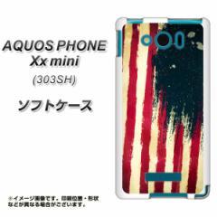 SoftBank AQUOS PHONE Xx mini 303SH TPU ソフトケース / やわらかカバー【MI805 ヴィンテージアメリカ 素材ホワイト】 UV印刷 (アクオ
