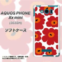 SoftBank AQUOS PHONE Xx mini 303SH TPU ソフトケース / やわらかカバー【SC835 ルーズフラワー ホワイト×レッド 素材ホワイト】 UV印