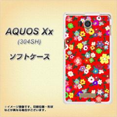 AQUOS Xx 304SH TPU ソフトケース / やわらかカバー【780 リバティプリントRD 素材ホワイト】 UV印刷 (アクオス ダブルエックス/304SH用
