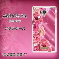 AQUOS Xx 304SH TPU ソフトケース / やわらかカバー【1182 ピンクのバラに誘われて 素材ホワイト】 UV印刷 (アクオス ダブルエックス/30