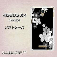 AQUOS Xx 304SH TPU ソフトケース / やわらかカバー【1334 桜のフレーム BK&WH 素材ホワイト】 UV印刷 (アクオス ダブルエックス/304SH