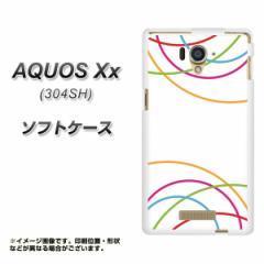 AQUOS Xx 304SH TPU ソフトケース / やわらかカバー【IB912 重なり合う曲線 素材ホワイト】 UV印刷 (アクオス ダブルエックス/304SH用)