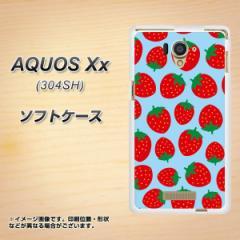 AQUOS Xx 304SH TPU ソフトケース / やわらかカバー【SC814 小さいイチゴ模様 レッドとブルー 素材ホワイト】 UV印刷 (アクオス ダブル