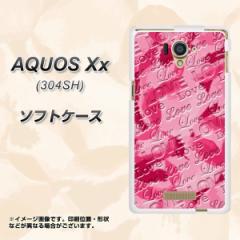 AQUOS Xx 304SH TPU ソフトケース / やわらかカバー【SC845 フラワーヴェルニLOVE濃いピンク 素材ホワイト】 UV印刷 (アクオス ダブルエ