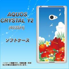 AQUOS CRYSTAL Y2 403SH TPU ソフトケース / やわらかカバー【VA821 ハイビスカスと青空 素材ホワイト】 UV印刷 (アクオスクリスタル ワ