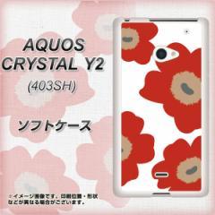 AQUOS CRYSTAL Y2 403SH TPU ソフトケース / やわらかカバー【VA956 花柄 マリメッコ レッド 素材ホワイト】 UV印刷 (アクオスクリスタ