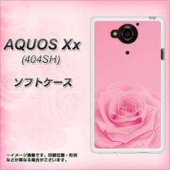 SoftBank AQUOS Xx 404SH TPU ソフトケース / やわらかカバー【401 ピンクのバラ 素材ホワイト】 UV印刷 (アクオス ダブルエックス 404S