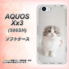 softbank AQUOS Xx3 506SH TPU ソフトケース / やわらかカバー【VA803 まっていますネコ 素材ホワイト】 UV印刷 (softbank アクオス Xx3