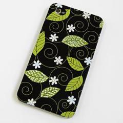 iPhone4s/iPhone4 対応 スワロフスキー デコケース【217 白い花とグリーンリーフ】