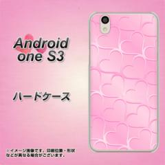 Y!mobile Android one S3 ハードケース / カバー【1342 かくれハート ピンク 素材クリア】(Y!mobile アンドロイドワン S3/ANDONES3用)