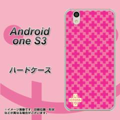 Y!mobile Android one S3 ハードケース / カバー【IB901 クロスドット_ピンク 素材クリア】(Y!mobile アンドロイドワン S3/ANDONES3用)