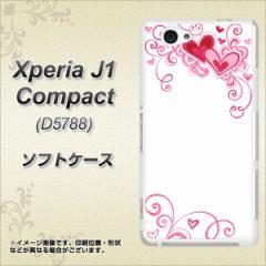 Xperia J1 Compact TPU ソフトケース / やわらかカバー【365 ハートフレーム 素材ホワイト】 UV印刷 (エクスペリア J1 Compact/D5788用