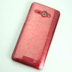 HTC J butterfly HTL21 ケース 凸凹 スマホケース【323 小鳥と花 (クリア)】(HTC J/HTL21/htl21)