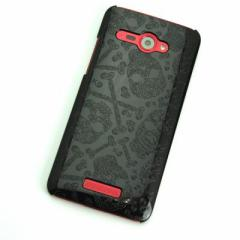 HTC J butterfly HTL21 ケース 凸凹 スマホケース【363 ドクロの刺青 (ブラック)】(HTC J/HTL21/htl21)