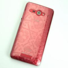 HTC J butterfly HTL21 ケース 凸凹 スマホケース【363 ドクロの刺青 (クリア)】(HTC J/HTL21/htl21)