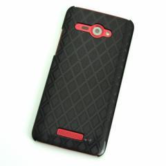 HTC J butterfly HTL21 ケース 凸凹 スマホケース【488 菱  (ブラック)】(HTC J/HTL21/htl21)