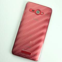 HTC J butterfly HTL21 ケース 凸凹 スマホケース【490 カーボン柄 (クリア)】(HTC J/HTL21/htl21)