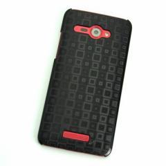 HTC J butterfly HTL21 ケース 凸凹 スマホケース【493 角千鳥  (ブラック)】(HTC J/HTL21/htl21)