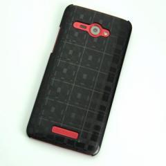 HTC J butterfly HTL21 ケース 凸凹 スマホケース【494 格子 (ブラック)】(HTC J/HTL21/htl21)
