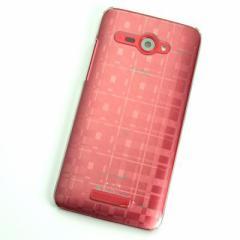 HTC J butterfly HTL21 ケース 凸凹 スマホケース【494 格子 (クリア)】(HTC J/HTL21/htl21)