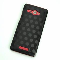 HTC J butterfly HTL21 ケース 凸凹 スマホケース【685 亀甲 (ブラック)】(HTC J/HTL21/htl21)