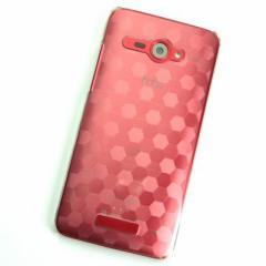 HTC J butterfly HTL21 ケース 凸凹 スマホケース【685 亀甲 (クリア)】(HTC J/HTL21/htl21)