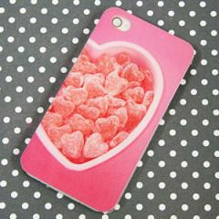 iPhone4sケース/iPhone4ケース 特殊印刷 スマホケース【446 ハートの詰め合わせ(クリアベース)】 UV印刷