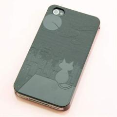 iPhone4s / iPhone4 共用 ケース 凸凹 スマホケース【012 屋根の上のねこ(ブラック)】(アイフォン/iPhone4s/iPhone4)