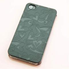 iPhone4s / iPhone4 共用 ケース 凸凹 スマホケース【223 ハートの調べ(ブラック)】(アイフォン/iPhone4s/iPhone4)