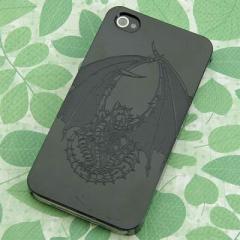 iPhone4s / iPhone4 共用 ケース 凸凹 スマホケース【358 red ドラゴン(ブラック)】(アイフォン/iPhone4s/iPhone4)