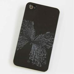 iPhone4s / iPhone4 共用 ケース 凸凹 スマホケース【475 闇の蝶(ブラック)】(アイフォン/iPhone4s/iPhone4)