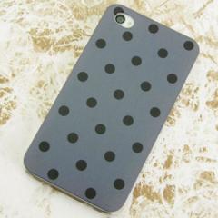 iPhone4sケース・iPhone4ケース 特殊印刷 スマホケース【500 ドット柄グレー&ブラック(クリア)】 UV印刷
