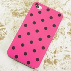 iPhone4sケース・iPhone4ケース 特殊印刷 スマホケース【501 ドット柄ピンク&ブラック(クリア)】 UV印刷