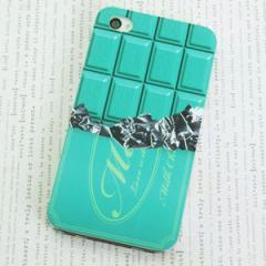 iPhone4sケース・iPhone4ケース 特殊印刷 スマホケース【554 板チョコ-ミント(クリア)】 UV印刷
