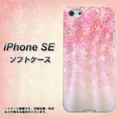 iPhone SE TPU ソフトケース / やわらかカバー【1239 着物桜柄 素材ホワイト】 UV印刷 (アイフォンSE/IPHONESE用)